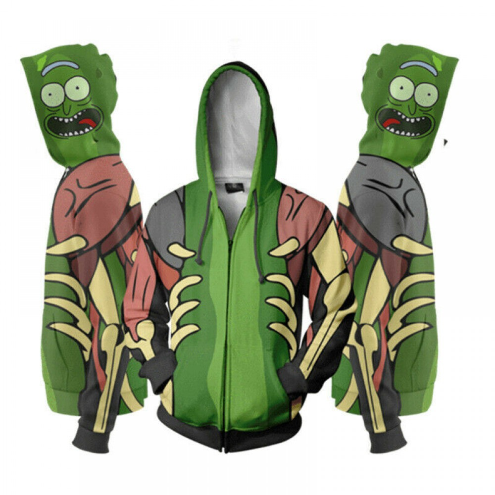 Rick And Morty Rick Green Face Zip Hoodie
