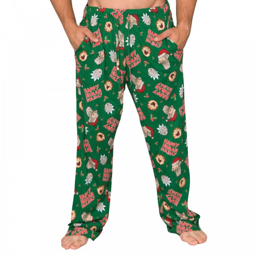Rick And Morty Happy Human Holidays Green Lounge Pants