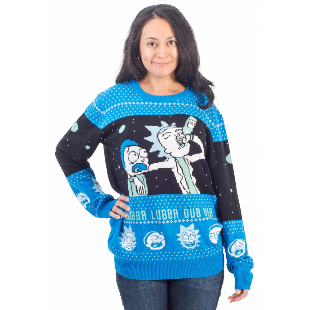 Rick And Morty Alien Wubba Lubba Spaceship Christmas Sweater
