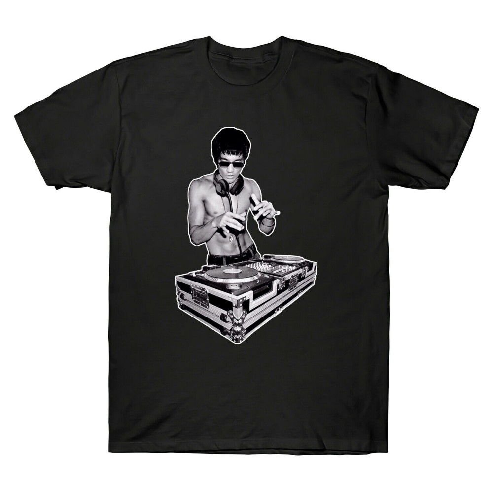 DJ Bruce Lee Worn by Tony Stark Avengers Kung Fu Mens T-Shirt