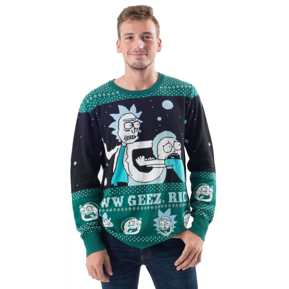 Rick And Morty Alien Aww Geez Rick Christmas Sweater