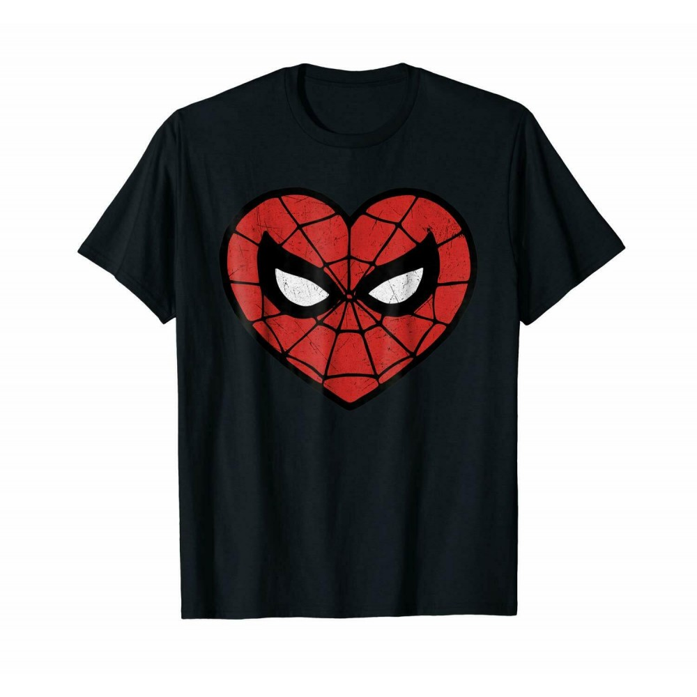 Marvel Spider-Man Face Mask Valentine's Heart Logo T-Shirt